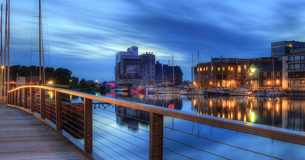 Odense - Hafen bei Nacht
