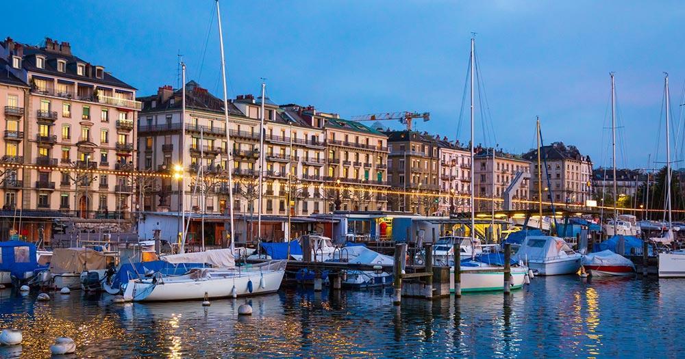 Genfersee / Boote am Genfersee am Abend