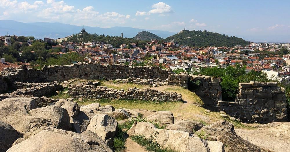 Plowdiw / Panoramablick über die Ruinen