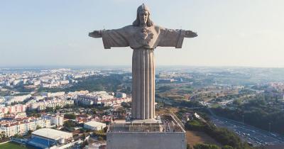 Cristo Rei Statue / Nahaufnahme der Cristo Rei Statue