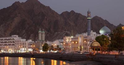 Reiseziel Oman - Muttrah Corniche in der Abenddämmerung, Muscat