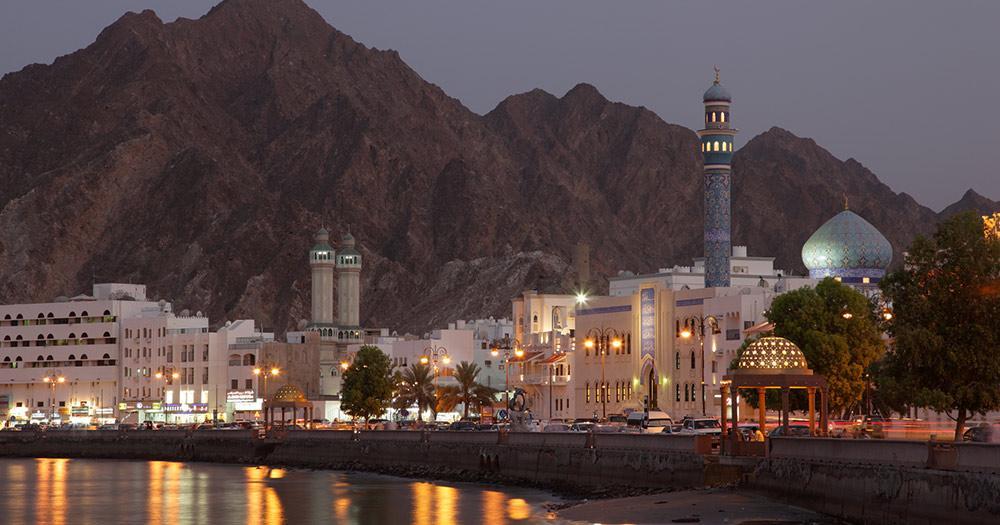 Oman - Muttrah Corniche in der Abenddämmerung, Muscat
