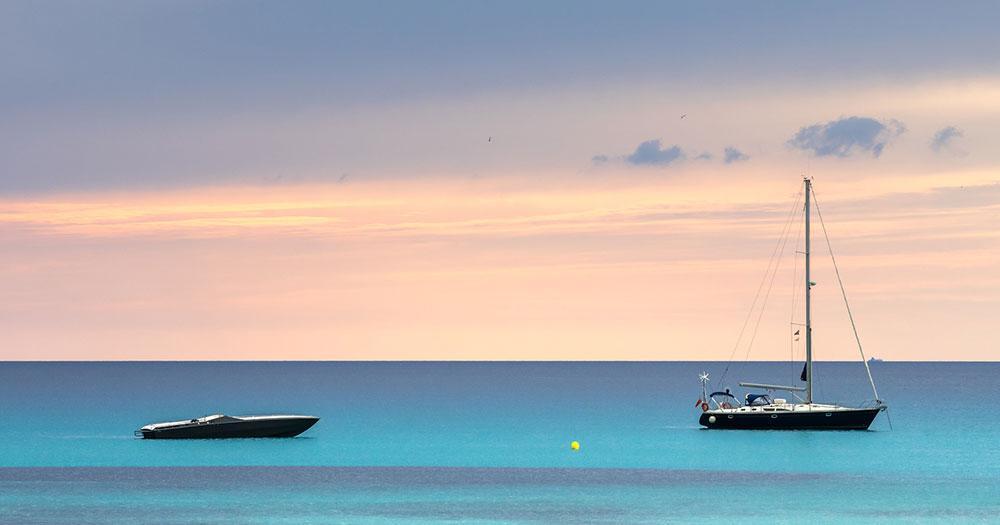 Formentera - Blick vom Strand auf das Meer