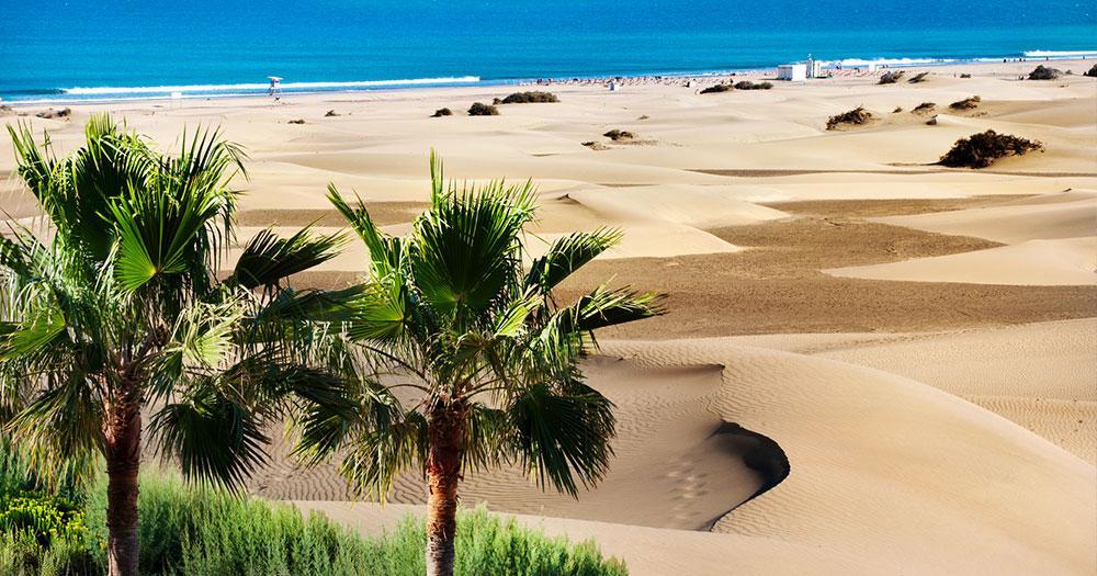 Gran Canaria - Blick über Sanddüne zum Meer