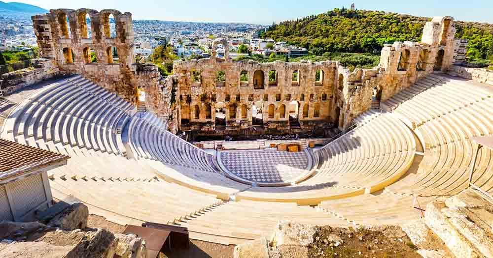 Athen - Blick auf das Amphitheater der Stadt