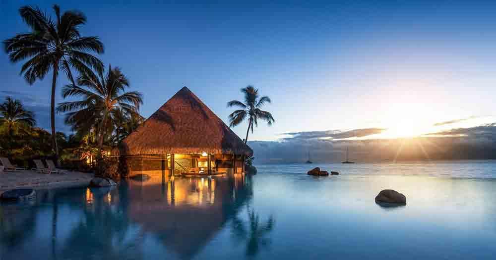 Hawaii - Blick aufs Meer und Palmen