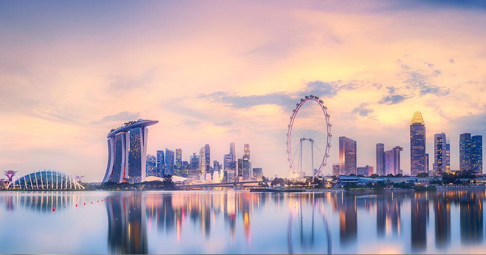 Singapur - Skyline mit Blick auf die Marina Bay