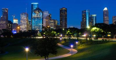 Houston - Abendlicher Blick auf Downtown Houston