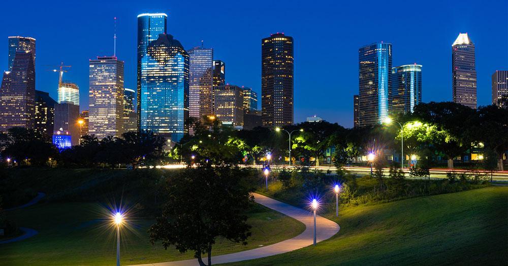 Houston - Abendlicher Blick auf Downtown Houston
