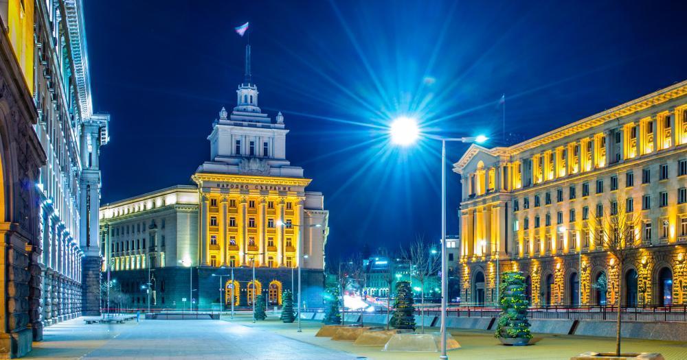 Sofia - Blick auf das Largo, ein Ensemble von drei klassizistischen Gebäuden des Sozialismus