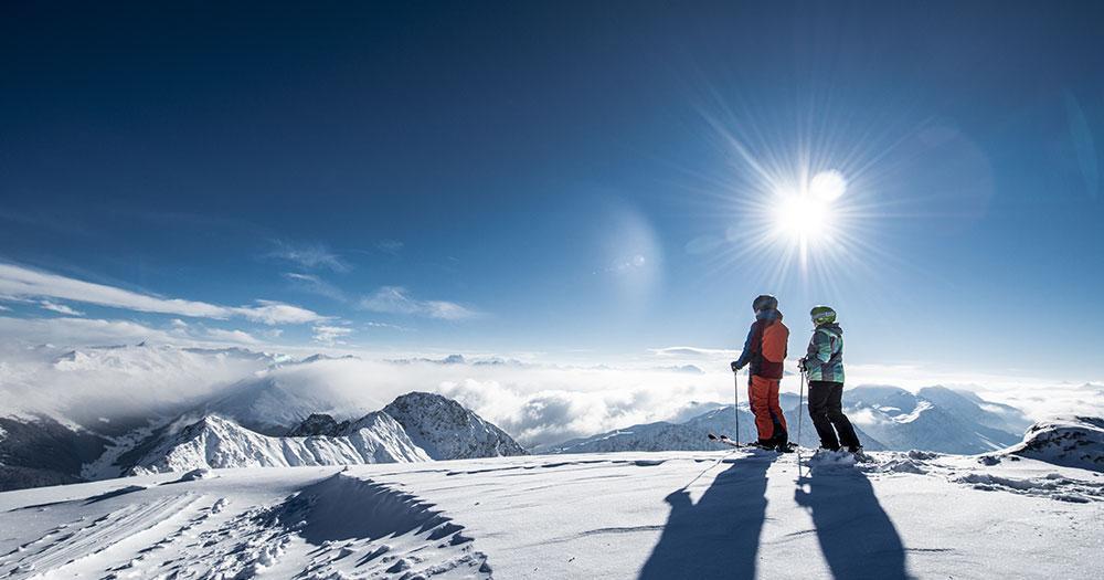 Davos - Winter Aussicht auf die Gipfel