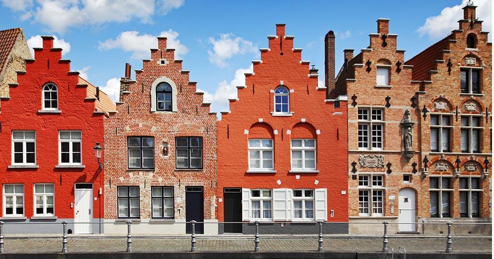 Brügge - Häuserzeile der Altstadt von Brügge