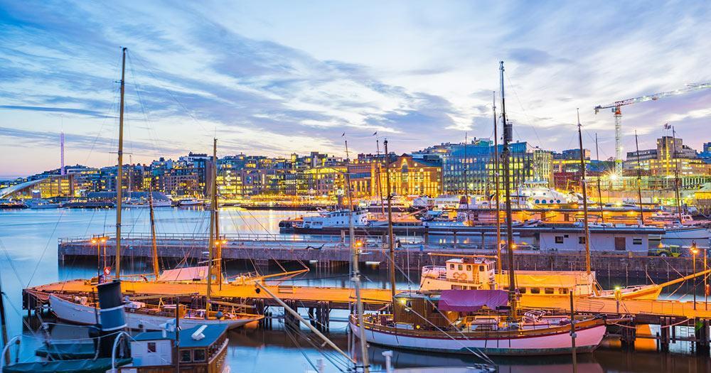 Oslo - Der Hafen von Oslo im Abendlicht