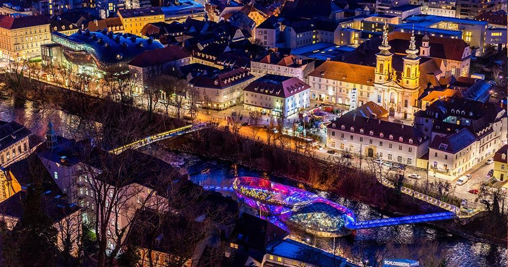 Graz - abendlicher Blick vom Schloßberg