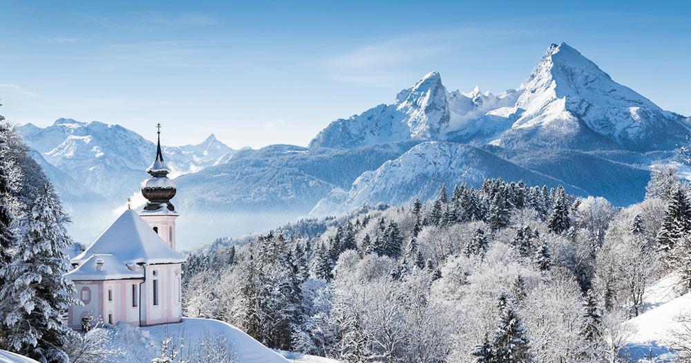 Berchtesgarden - Winterlicher Blick auf Maria Germ