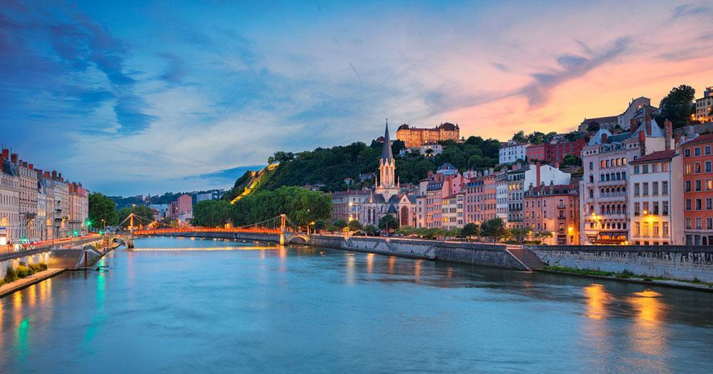 Lyon - Abendlicher Blick auf die Stadt
