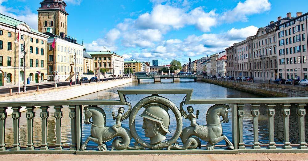 Göteborg - Brückengeländer über den Kanal