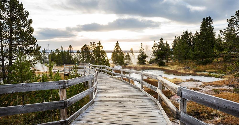 Yellowstone National Park - Fußweg zum See