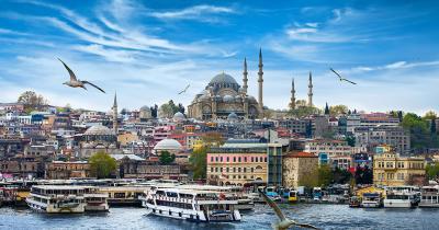 Istanbul - Hafen von Instanbul mit Hagia Sophia