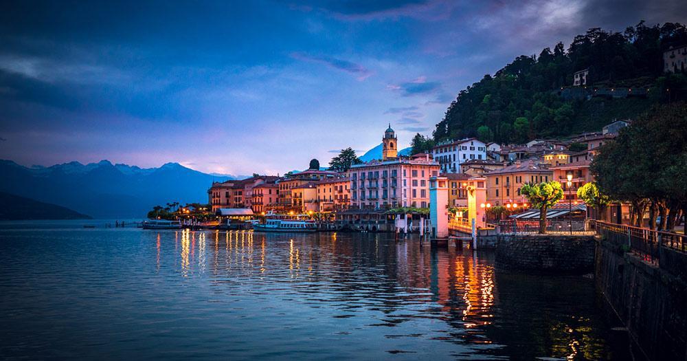 Comer See - abendlicher Blick auf Bellagio